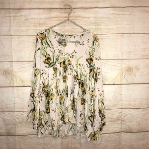 Free people XS floral long sleeve blouse
